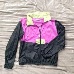 Columbia Black and Neon Windbreaker Jacket